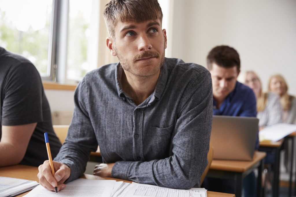 Mature Male Student Attending Adult Education Class